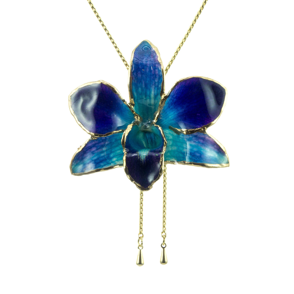 Dendrobium Orchid Gold Slider Necklace with Trim - Purple & Blue