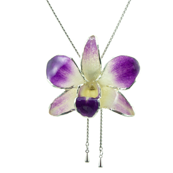 Dendrobium Orchid Silver Slider Necklace with Trim - Purple White