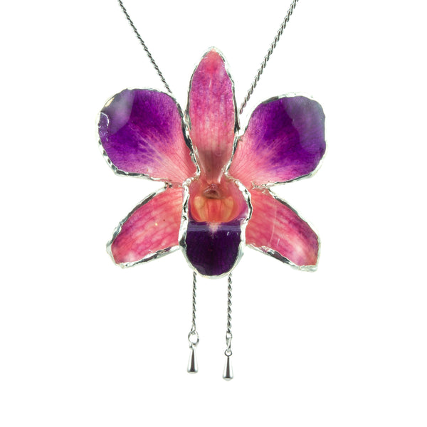 Dendrobium Orchid Silver Slider Necklace with Trim - Purple Pink
