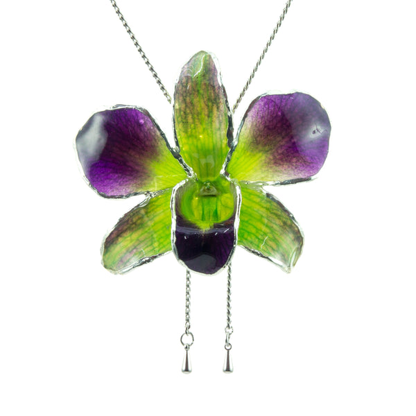 Dendrobium Orchid Silver Slider Necklace with Trim - Purple Green