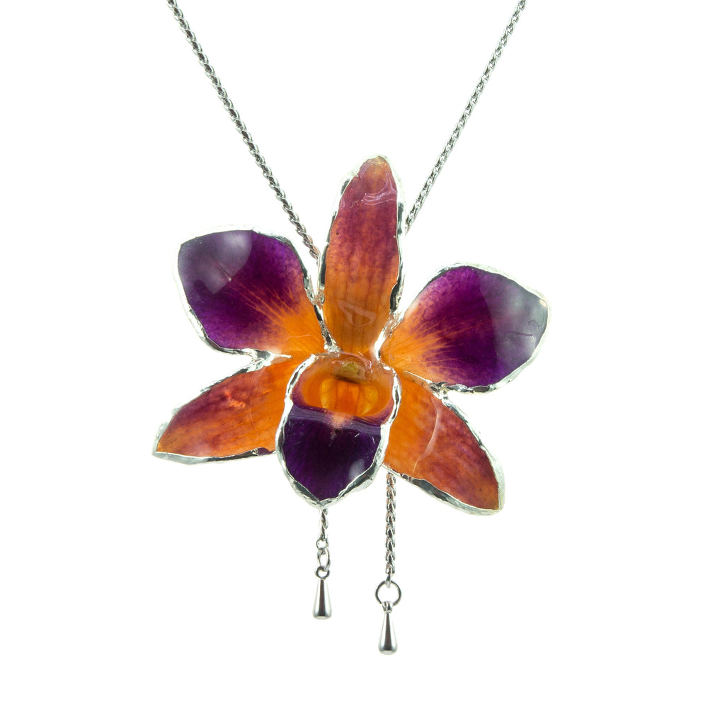 Dendrobium Orchid Silver Slider Necklace with Trim - Purple Orange
