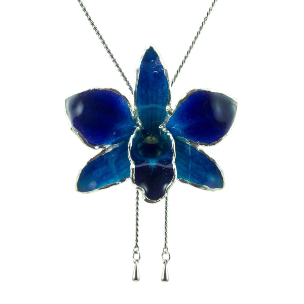 Dendrobium Orchid Silver Slider Necklace with Trim - Purple Blue