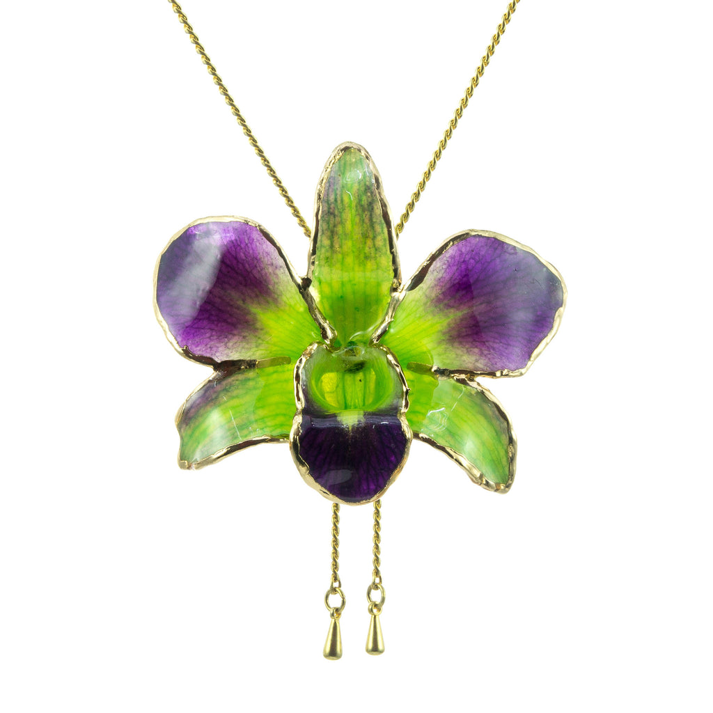 Dendrobium Orchid Gold Slider Necklace with Trim - Purple & Green