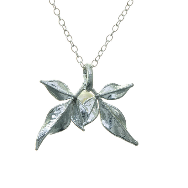 Miniature Silver Nandina Leaf Pendant with Pearl