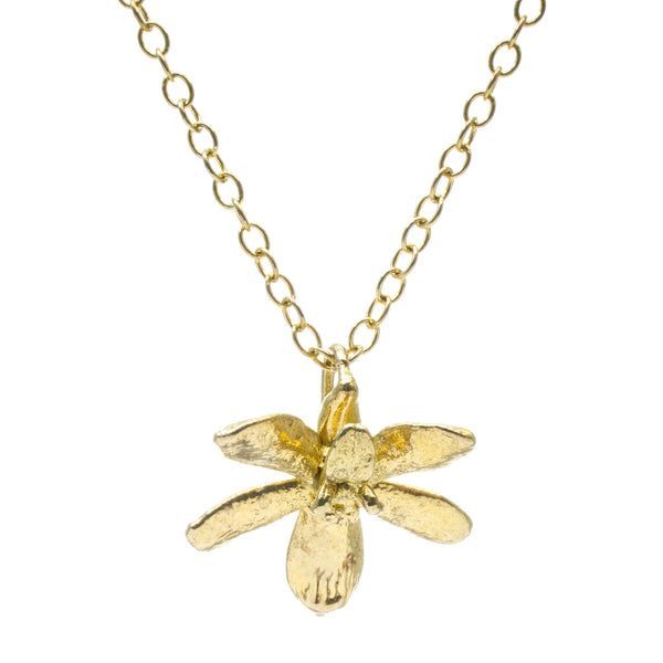 Miniature Gold Inverted Orchid Pendant