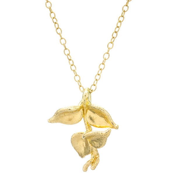Miniature Gold Million Heart Leaf Pendant #1