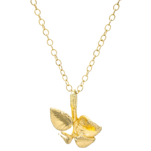 Miniature Gold Million Heart Leaf Pendant #2