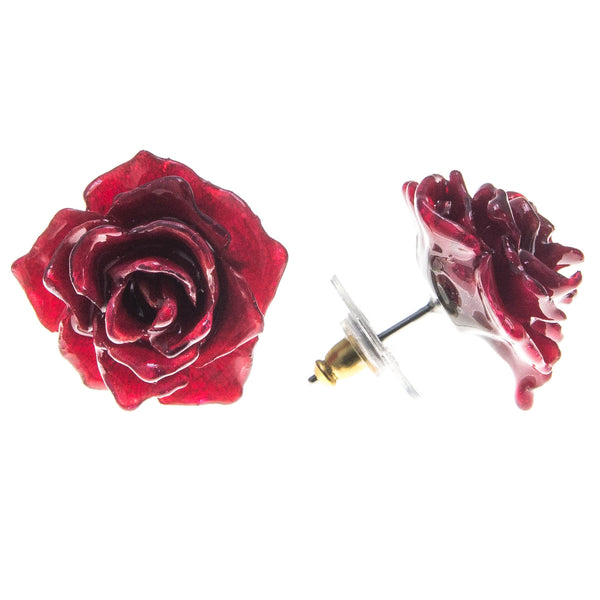 Rose Earrings - Red