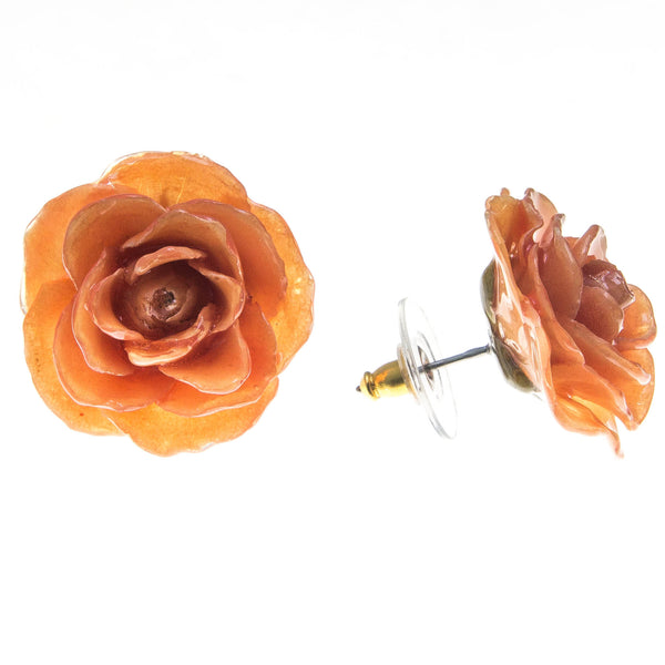 Rose Earrings - Orange