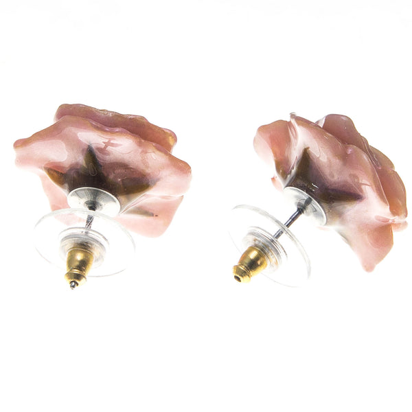 Rose Earrings - Peach