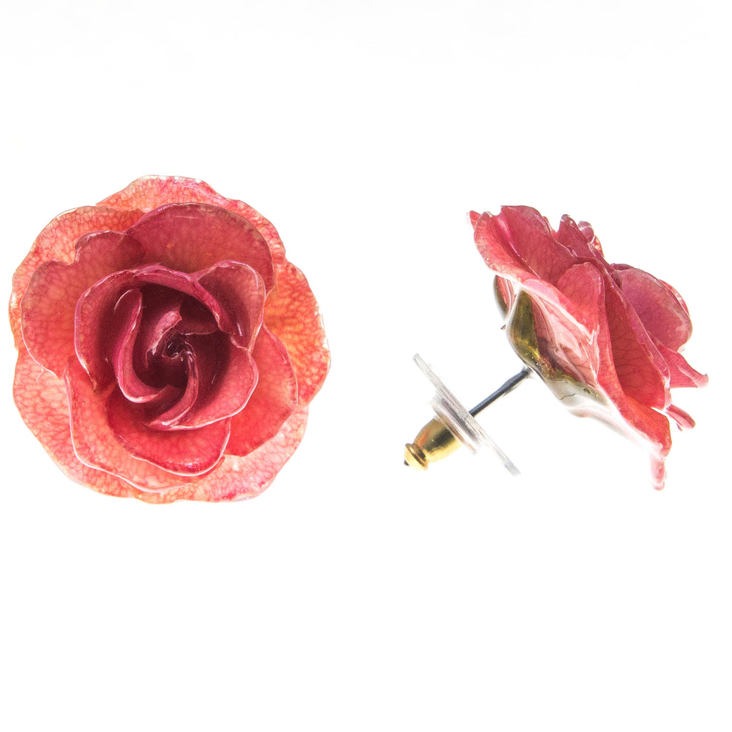 Rose Earrings - Pink
