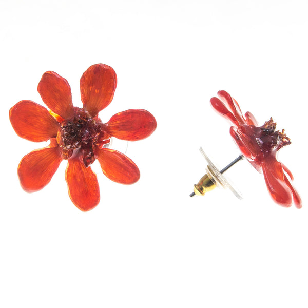 Zinnia Earrings - Red