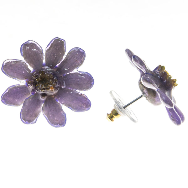 Zinnia Earrings - Purple