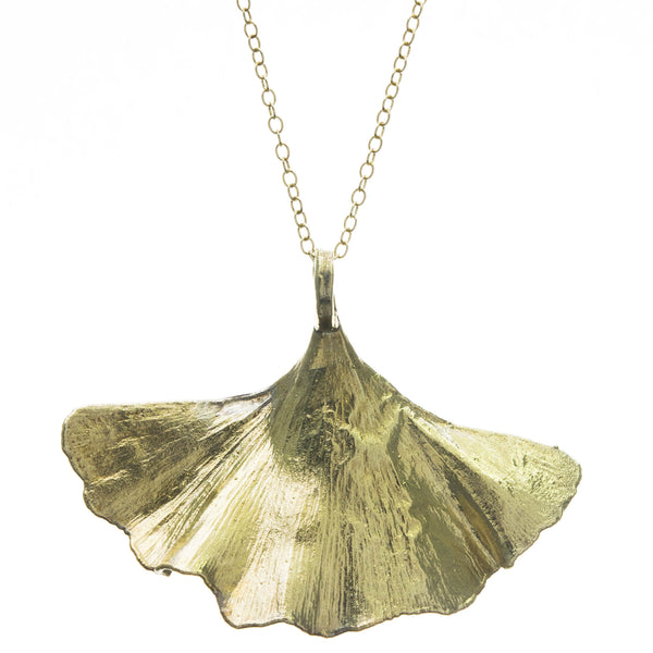 Gold Gingko Leaf Pendant