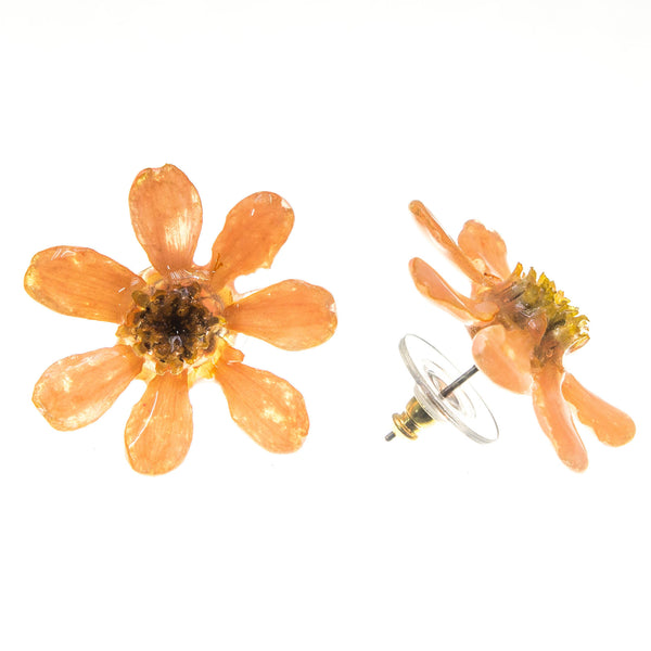 Zinnia Earrings - Peach