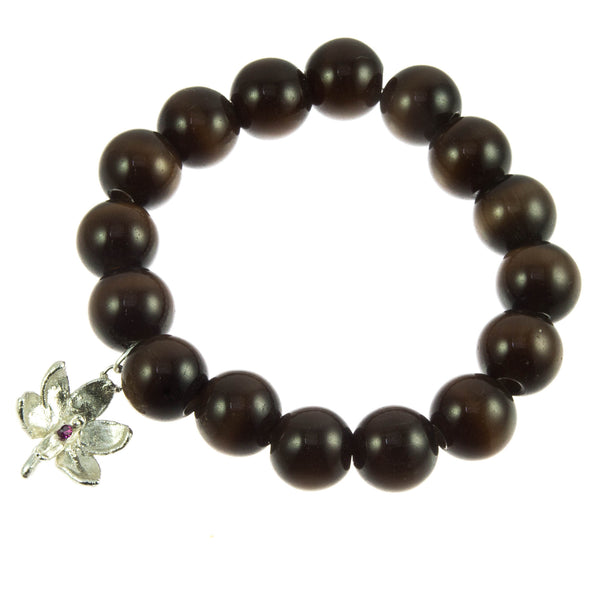 Dark Brown Glass Bead and Silver Orchid (Ruby) Bracelet
