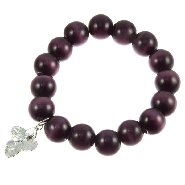 Dark Purple Glass Bead and Silver Hydrangea Bracelet