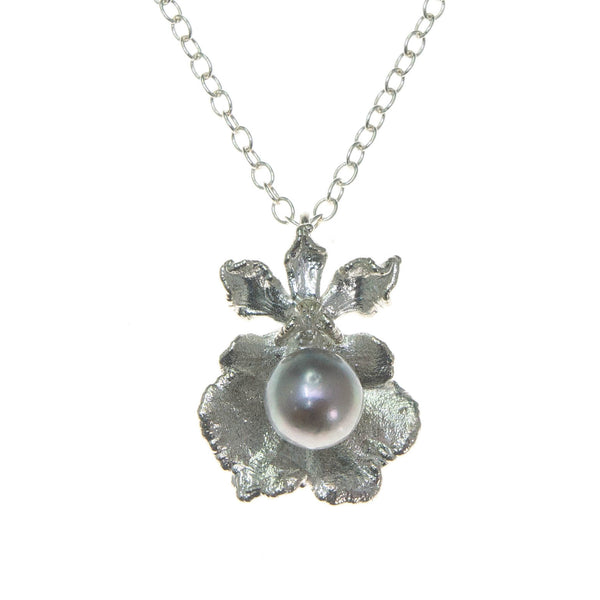 Miniature Silver Oncidium Orchid Pendant with Pearl