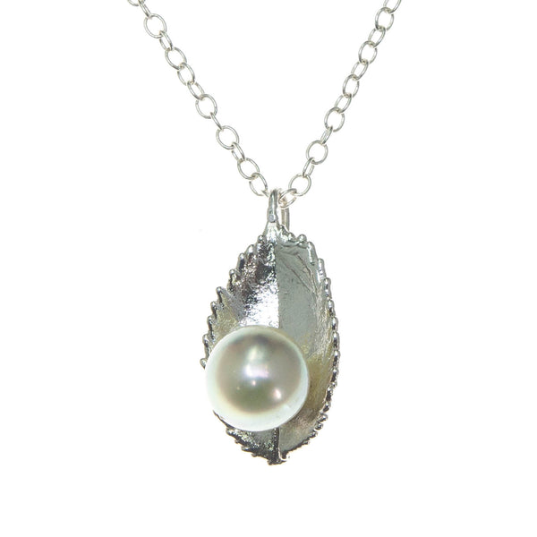 Miniature Silver Rose Leaf Pendant with Pearl