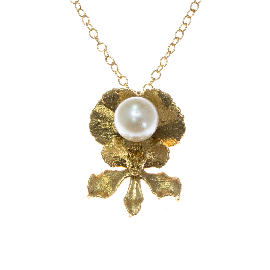 Miniature Gold Inverted Oncidium Orchid Pendant with Pearl