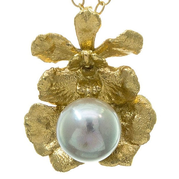 Miniature Gold Oncidium Orchid Pendant with Pearl