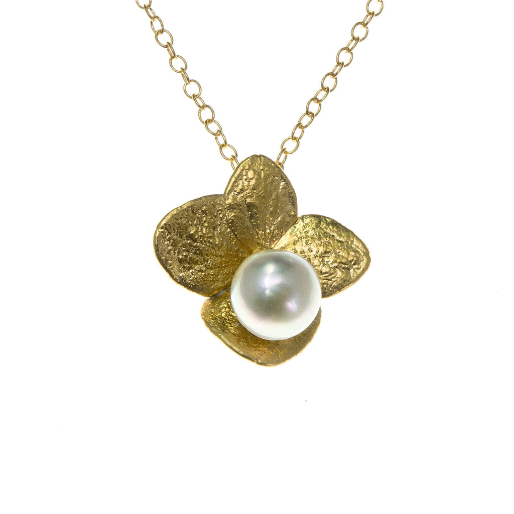 Miniature Gold Hydrangea Pendant with Pearl