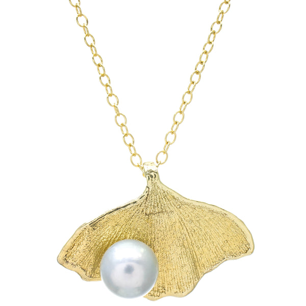 Miniature Gold Gingko Leaf Pendant with Pearl