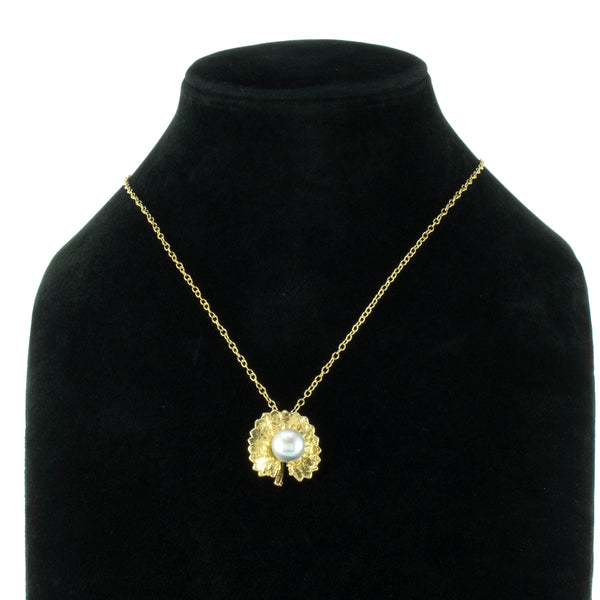 Miniature Gold Inverted Pennywort Pendant with Pearl