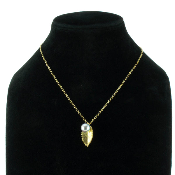 Miniature Gold Rose Leaf Pendant with Pearl