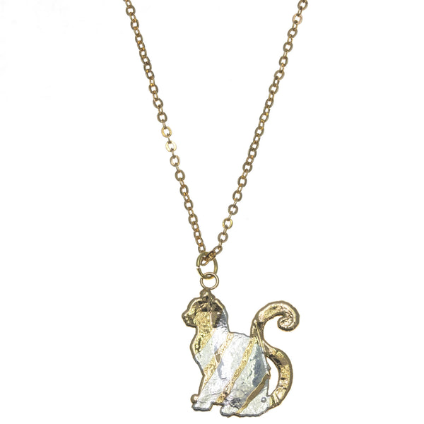 Gold Striped Cat Pendant