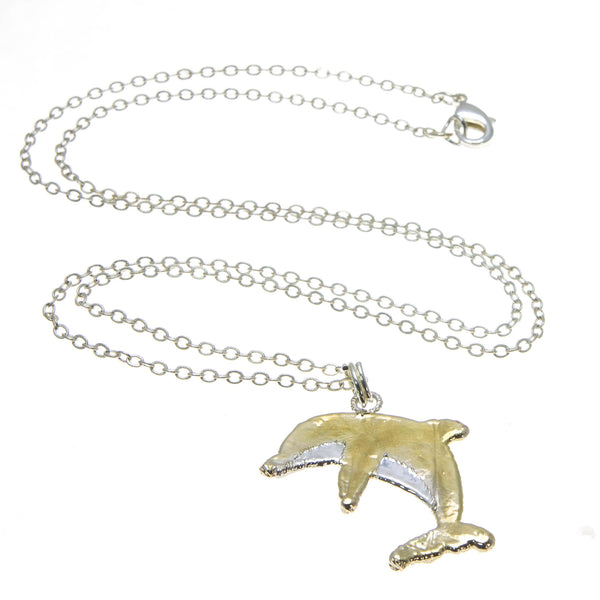 Gold Back Dolphin Pendant