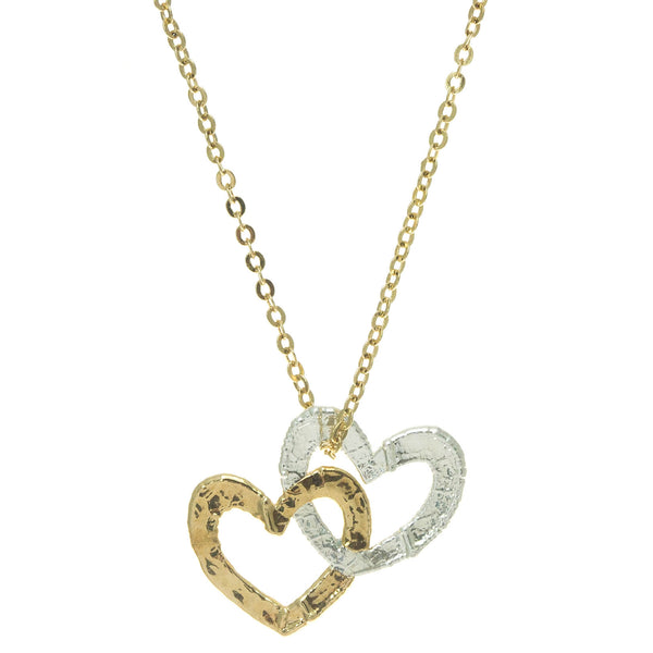 Silver & Gold Double Heart Pendant