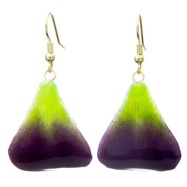 Dendrobium Orchid Petal Earrings - Purple & Green