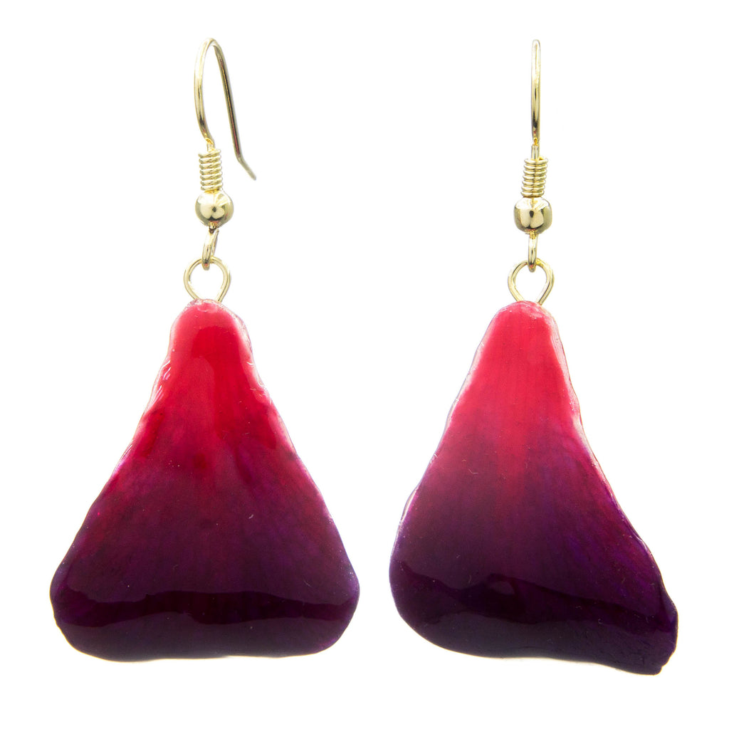 Dendrobium Orchid Petal Earrings - Purple & Red