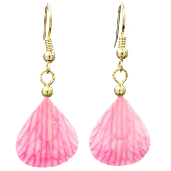 Dendrobium Orchid Mini Petal Earrings - Pink Veins