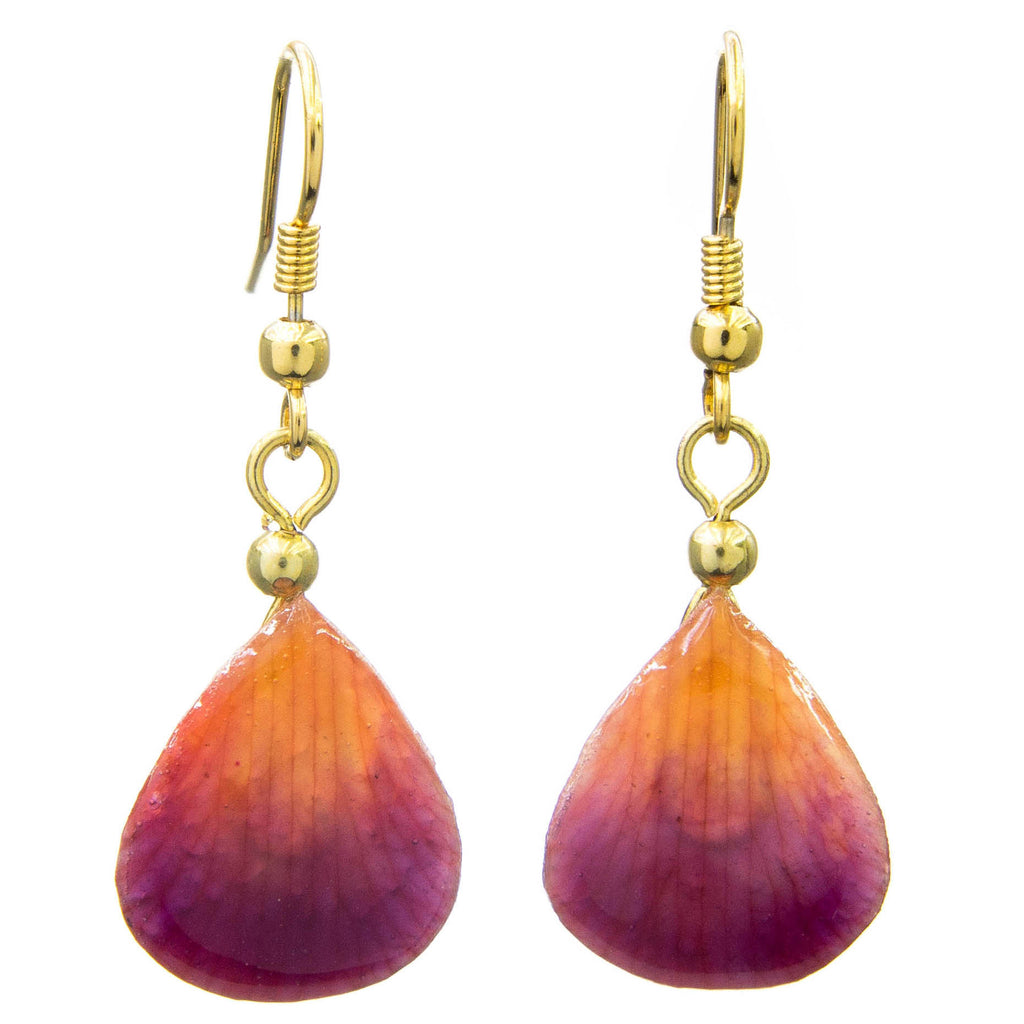 Dendrobium Orchid Mini Petal Earrings - Purple & Orange