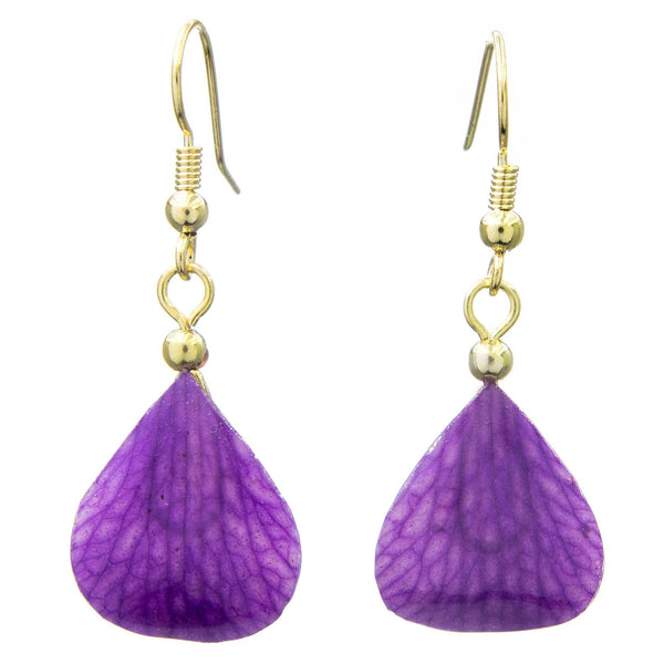 Dendrobium Orchid Mini Petal Earrings - Purple Veins