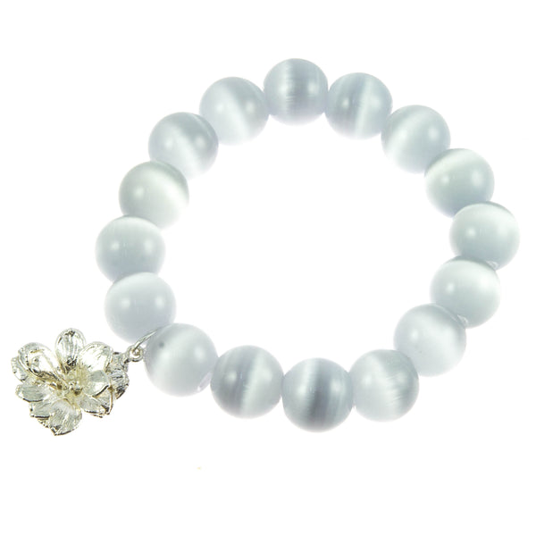 Light Grey Glass Bead and Silver Kalanchoe Bracelet