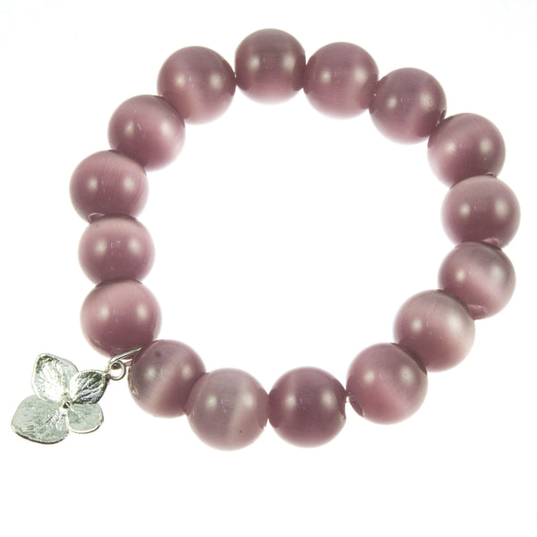 Lilac Glass Bead and Silver Hydrangea Bracelet