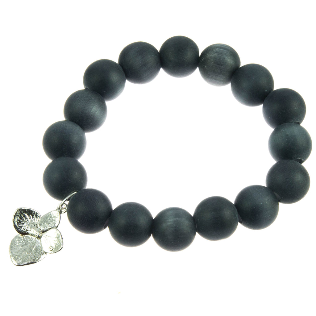Matt Black Glass Bead and Silver Hydrangea Bracelet