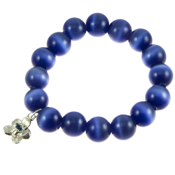 Pansy Blue Glass Bead and Silver Orchid (Blue Topaz) Bracelet