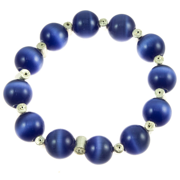 Pansy Blue Glass Bead and Silver Rose Stem Bracelet