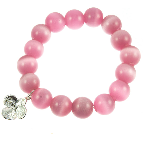 Pink Glass Bead and Silver Hydrangea Bracelet