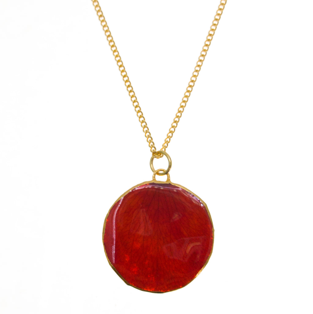 Rose Petal Pendant - Red