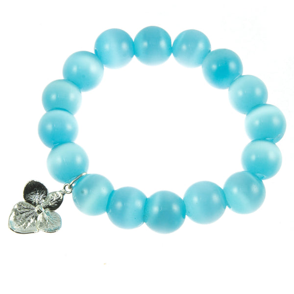 Sky Blue Glass Bead and Silver Hydrangea Bracelet
