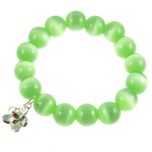 Spicy Green Glass Bead and Silver Orchid (Ruby) Bracelet
