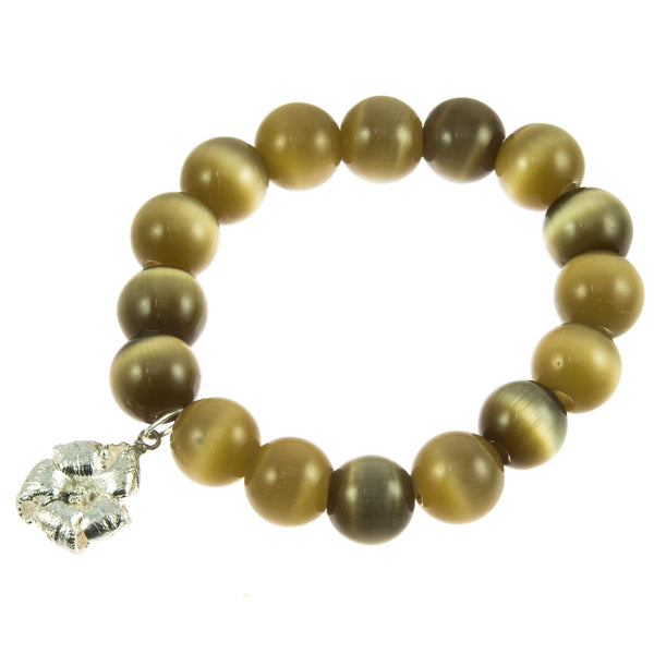 Brown Glass Bead and Silver Papaya Flower Bracelet