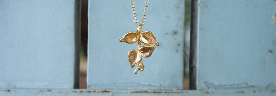 Gold Nandina Leaf Pendant Necklace