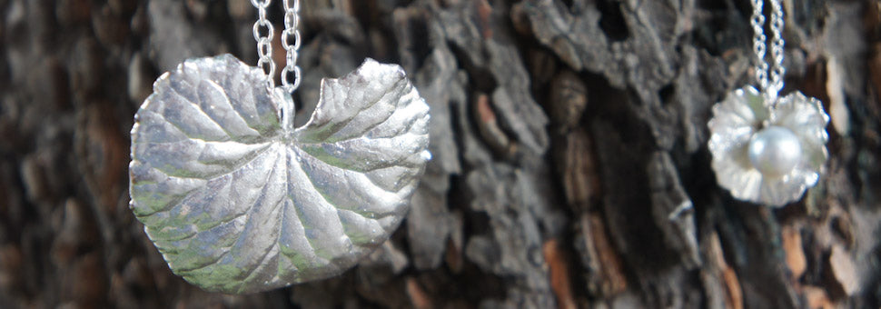 Fine Silver Pennywort Pendants with pearls