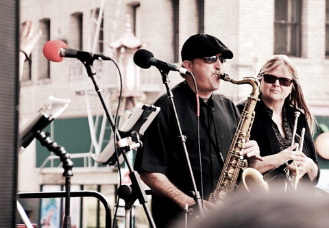 Blues musician playing saxophone in Melbourne